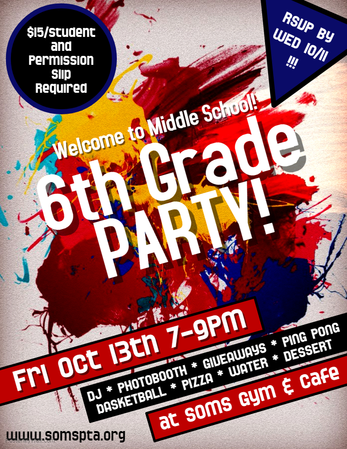 6th Grade Welcome Party! – SOMS PTA